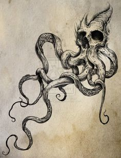 lickaroundthescab:Skulltapus by *ShawnCoss on deviantART #drawing #illustration #art #tentacles #skull #death #sketch
