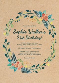 Botanical Wreath - Birthday Invitations #birthday #invitation #birthdayinitation #digitalcards #paperlust #weddinginvitation