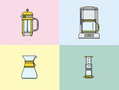 Brewing #icons #press #french #chemex #coffee