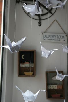 Origami birds in our window display! Moss cottage #oragami