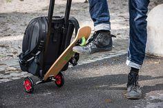 Hybrid folding kick scooter/trolley