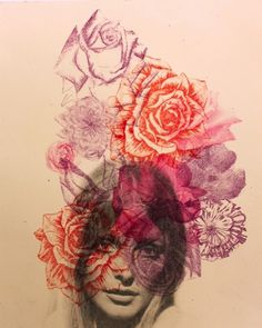 oh darling my darling (medranochav: SHARON | RENÉ MEDRANO Lithograph) #woman #lithograph #art #medrano #ren #flowers
