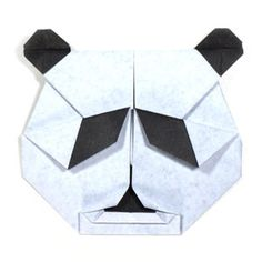 How to make a face of origami panda http://www.origami-make.org/howto-origami-panda.php #origami #panda #origamipanda #origamianimals #easy
