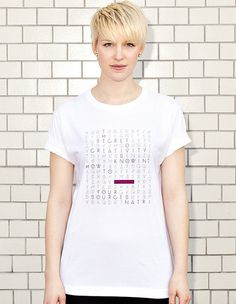 WORD SEARCH - the secret to creativity is knowing how to hide your sources - white t-shirt - women | NATRI - Shirt Label #modern #quote #print #design #shirt #minimal #type #typography