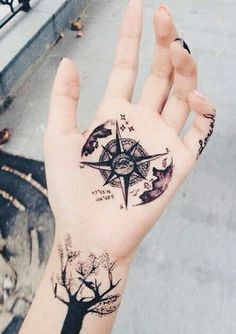 Star Compass Tattoo on Hand For Women