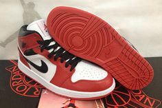 Mens Air Michale Jordan I sports Shoes - White Black and Red
