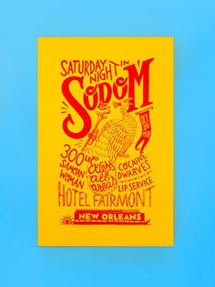 Handmade Silkscreen Print. #lettering #from #party #galbany #montse #excess #the #sodafromthehut #orleans #poster #peacock #hut #soda #new