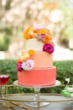 Bold Bright Dallas Wedding - floral cakes,