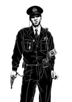 巡査 A #white #black #cop #and #drawing #sketch