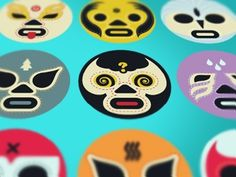 Dribbble - Luchador Icons 2 by Adam Brackney #illustration #mask #luchador