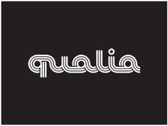 Qualia_logo_white #retro #78 #1970s #custom #font #lettering #white #design #70s #logo #type #logotype #old #60s #mono #1970 #stripes #black #1960s #qualia #1960 #seveneight #style