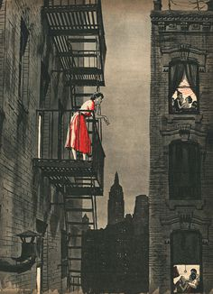 Ed Vebell illustration to #red #in #city #noir #night #illustration #vintage #50s #lady