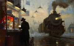 Homeward Bound, David Tutwiler (2003) #train #bound #steam #homeward #rail #vintage #painting #david #tutwiler #station