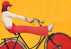 (onabicycle)1960's Fun On A Bike campaign #red #bicycle #vintage #bike #cycling