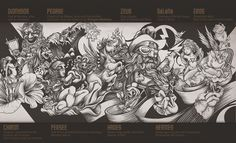 Mythologic wall by DZO Olivier #inspiration #character #illustration #drawing