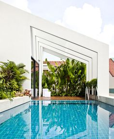 Stylish, Clear   Lined NQ House - roof terrace greenery swimming pool