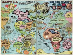 Fricking Awesome Maps From the Silver Age of Comic Books | Science Blogs | WIRED #world #map #illustration #pulp #vintage #continents #comics #magazine
