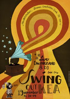 michelle carlslund illustration: swing out #illustration #poster #party #red #yellow #orange #copenhagen #danish #gramophone #wing #nordic #