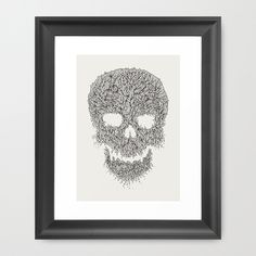 Grey Skull Illustration Framed Art Print #line #illustration #art #skull #organic
