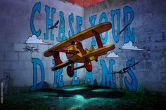 Chase your dreams - anamorphic toy plane odeith 2015 #graffiti #anamorphic #odeith