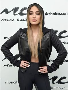 Topcelebsjackets brings a stylish outfit of a famous singer. Ally Brooke is a famous singer, she wore this awesome Black Leather Jacket on Music Choice Event in New York City. #singer #singeroutfit #blackjacket #allybrooke #NY #musicchoiceevent #fashion #womenfashion #music #newyork
