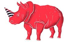 illustration, party animal, rhinoceros