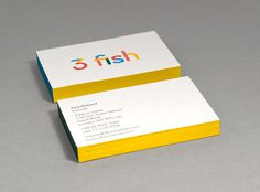 3 fish in a tree | Graphic Design, London » 3 fish. A brand new look. #business #card #yellow #fish #logo #3 #type