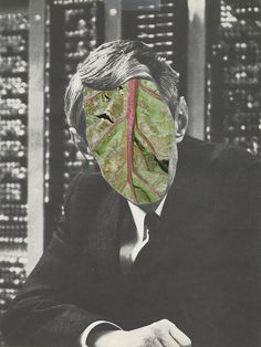 feru-leru:nnletus by austin1227 on Flickr.n #cut #white #leaf #design #black #illustration #shape #collages #vintage #art #and #man #collage #paper #green
