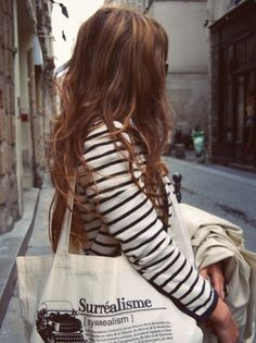 Likes | Tumblr #paris #girl #stripes #hair #fashion