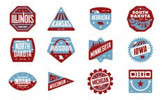 Midwest Badges #states #kansas #america #indiana #michigan #ohio #minnesota #illinois #wisconsin #badges #usa #nebraska