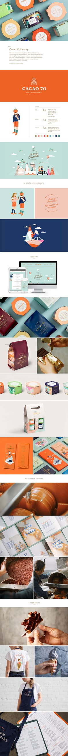 Cacao 70's full rebrand was designed by Montréal-Tokyo brand consultancy, In Good Company.  This included the development of their identity alongside rethinking their retail line and customer in-store experience. For more of the most beautiful designs visit mindsparklemag.com