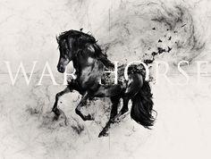 War Horse by alcalay. art director / designer #horse #war #black #illustration #manipulation #art #animal