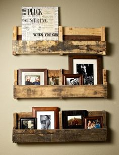 Cut out pallets make display shelves