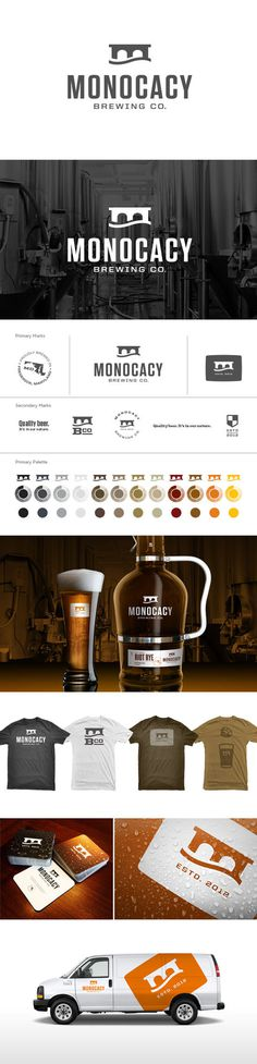 Monocacy Brewing Co. Branding #truck #logotype #beer #mark #beverage #brewery #branding #tshirts #vehicle #color #tshirt #liquor #glass #logo