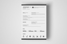 Free Simple PSD Resume Template with Elegant Design