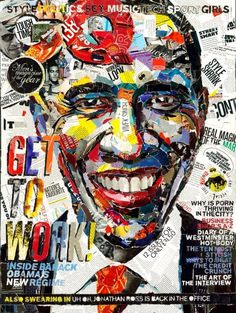GQ Collage work by Andy Gellenberg #happy #gq #type #president #cover #smile #portrait #colorful #usa #papercut #collage #editorial #magazine #obama