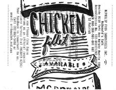 Chick'n #letters #ink #mcdonalds #receipt #renielguiao #retro #illustration #vintage #poster #chicken #manila #drawing #fillet #typography