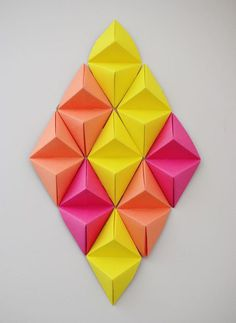 #Wall #Art #3D #pink #yellow #orange #diy