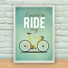 PREORDER I Want To Ride My Bicycle A2 Poster by MilliJane on Etsy #illustration #bike #poster