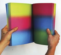 Recordings is a series of books that are the result of a physical interaction between the printer and the offset press. Colors are added to #gradiants #corps #book #containter