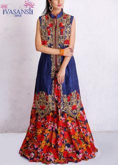 Vasansi Blue Raw Silk Indo Western