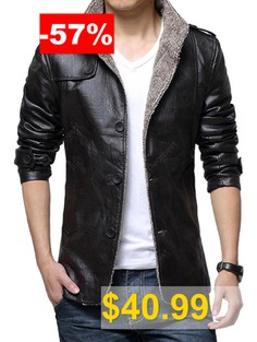 Thickening #Casual #PU #Leather #Jacket #for #Men #- #BLACK