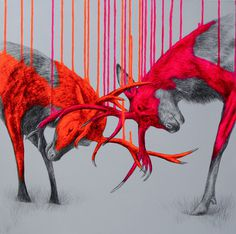Fluorescent Mixed Media Animals by Louise McNaught #white #red #black #and #animal