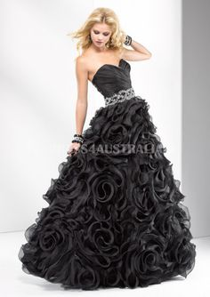 Sweetheart Black Ruffles Organza Long Evening Dress/ Prom Dresses By FIT P4672