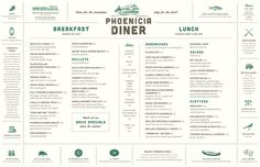 The Phoenicia Diner : Projects : Gabriele Wilson Design #layout #menu #typography