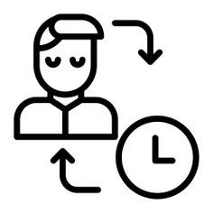 See more icon inspiration related to watch, time and date, employee, worker, schedule, user, timer, man, time, hours, clock and arrow on Flaticon.