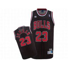 Adidas Jordan #23 Black NBA Bulls Jerseys Red Strip And Numbers