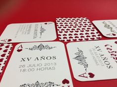 XV Invitation / Invitación XV años #invitation #corazones #print #playing #poker #cartas #hearts #cards