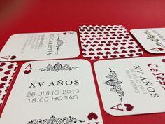 XV Invitation / Invitación XV años #invitation #corazones #print #playing #poker #cartas #hearts #cards