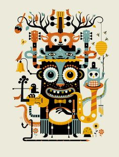 Music Monsters by Methane Studios #totem #illustration #poster